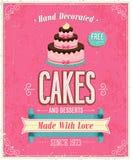 Vintage Cakes Poster. Stock Photo