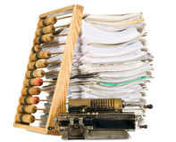 Vintage calculator with documents, office concept Stock Image