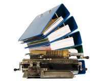 Vintage calculator with documents, office concept Royalty Free Stock Photos