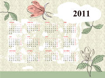 Vintage calendar for 2011. With flowers Royalty Free Stock Image