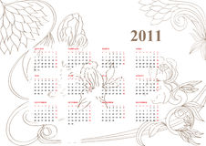 Vintage calendar for 2011. Vintage calendar with flowers for 2011 Royalty Free Stock Photography