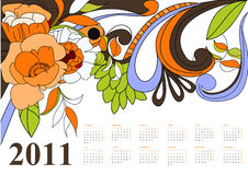 Vintage calendar for 2011. Colorful illustration Royalty Free Stock Photos