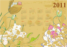 Vintage calendar for 2011. Universal template for greeting card, web page, background Royalty Free Stock Photos