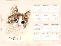 Vintage  calendar 2011. With cat Stock Photography
