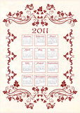 Vintage calendar 2011. With floral frame stock illustration