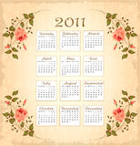 Vintage calendar 2011. With floral frame royalty free illustration