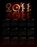 Vintage calendar for 2011. In editable format stock illustration