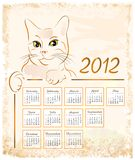 Vintage calendar 2012 Royalty Free Stock Image