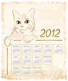 Vintage calendar 2012. Cat showing  vintage calendar 2012 Royalty Free Stock Image