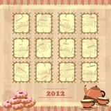 Vintage calendar 2012. Calendar 2012 in vintage design - Week starts on Monday Vector Illustration