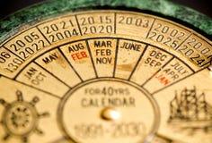 Vintage calendar. Close up of an old metallic calendar Royalty Free Stock Photos