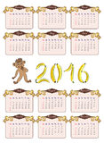 Vintage  calendar 2016 in brown and beige tones. Vintage  calendar   in brown and beige tones with a curious monkey which considers 2016 of bananas Stock Image