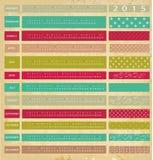 Vintage calendar for 2015. Colored Vintage calendar for 2015 stock illustration