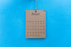 Vintage calendar 2017 handmade hang on blue wall Royalty Free Stock Photography