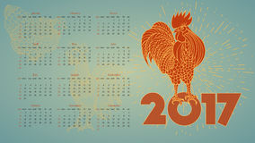 2017 Vintage calendar with red rooster. Stock Image