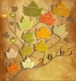 Vintage calendar for 2015. Tree shape Vintage calendar for 2015 Royalty Free Stock Photo