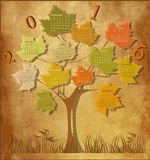 Vintage calendar for 2016. Tree shape Vintage calendar for 2016 Vector Illustration