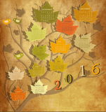 Vintage calendar for 2016. Tree shape Vintage calendar for 2016 Royalty Free Illustration