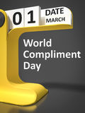 Vintage Calendar World Compliment Day. 1st of march Stock Photography