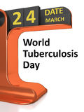 Vintage calendar World Tuberculosis Day Royalty Free Stock Photography