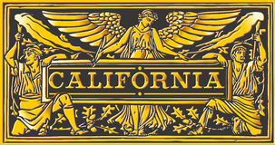 Vintage California Label Plaque, Black and Gold Stock Photography