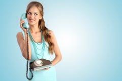 The vintage call – girl. Stock Image