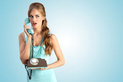 The vintage call – girl. Royalty Free Stock Photography