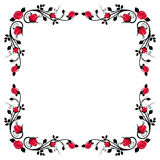 Vintage calligraphic frame with red roses. Royalty Free Stock Photos