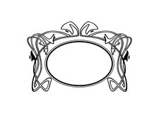 Vintage Calligraphic Frame - Round Decorative Floral Element with Flourishes Stock Image
