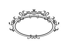Vintage Calligraphic Frame - Round Decorative Floral Element with Flourishes Stock Photos