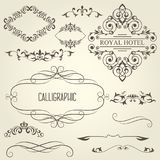 Vintage calligraphic frames with vignettes and ornamental divide. Rs and lines Stock Photo