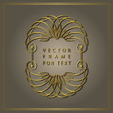 Vintage Calligraphic Gold frame. Modern Swirl Frame. Monogram design elements, graceful template. Antique elegant line logo design Royalty Free Stock Image