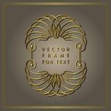 Vintage Calligraphic Gold frame. Modern Swirl Frame. Monogram design elements, graceful template. Antique elegant line logo design Royalty Free Stock Image