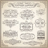 Vintage Calligraphic Labels Set Royalty Free Stock Photo