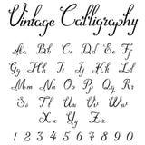 Vintage Calligraphic Script Font vector letters. Vintage Calligraphic Script Font Linear vector Royalty Free Stock Image