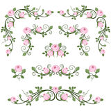 Vintage calligraphic vignettes with pink roses. stock illustration