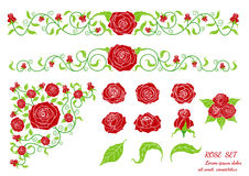 Vintage calligraphic vignettes with red roses. Stock Photos