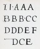 Vintage calligraphy alphabet. Writing on old paper Stock Photography
