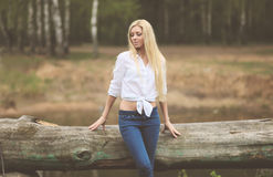 Vintage calm photo pretty blonde. Outdoors Stock Photo