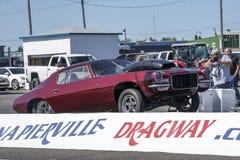 Vintage camaro making a wheelie. Napierville dragway super tour, june 2017 Royalty Free Stock Image