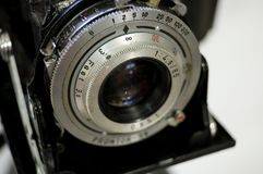 Vintage Camer Close Up - Shallow Depth of Field. On white background Royalty Free Stock Photography