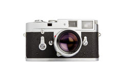 Vintage camera. Old rangefinder vintage camera on white background Stock Photo