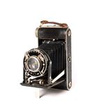 Vintage camera. Vintage 6x6 camera over white Royalty Free Stock Photography