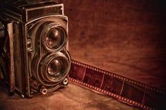 Vintage Camera. Close-up shot of an old dual lens reflex medium format camera Royalty Free Stock Photography