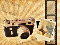 Vintage camera. Background with polaroids vector illustration