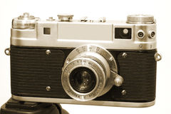 Vintage Camera 3 On Tripod Royalty Free Stock Images
