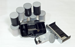 Vintage camera and 35mm film roll Royalty Free Stock Photography