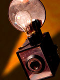 Vintage Camera. An old film camera with a flash bulb Stock Photography