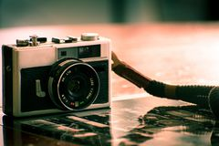 Vintage camera for analog film photography stock photography