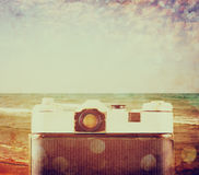 Vintage camera back view - filtered image Royalty Free Stock Images